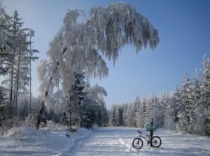 Schnee und blauer Himmel MTB Winter