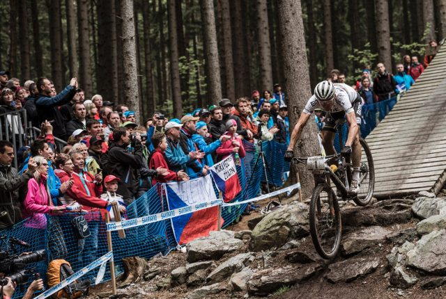 Julien Absalon performs at the UCI Mountain Bike World Cup in Nove Mesto, Czech Republic on May 24th 2015 // Bartek Wolinski/Red Bull Content Pool // P-20150524-00732 // Usage for editorial use only // Please go to www.redbullcontentpool.com for further information. //